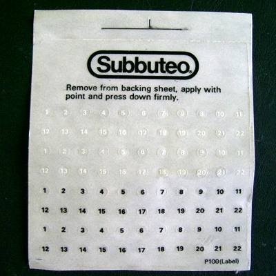 Numeri adesivi originali SUBBUTEO